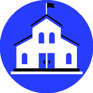 A graphic of a white school with a blue background