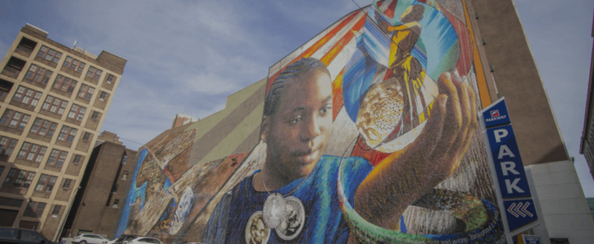 A mural, produced in conjunction with 5 Philadelphia public schools, shines a light on slavery and the Holocaust.