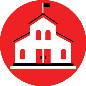 A graphic of a white school with a red background
