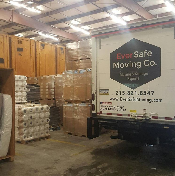 moving truck inside a warehouse