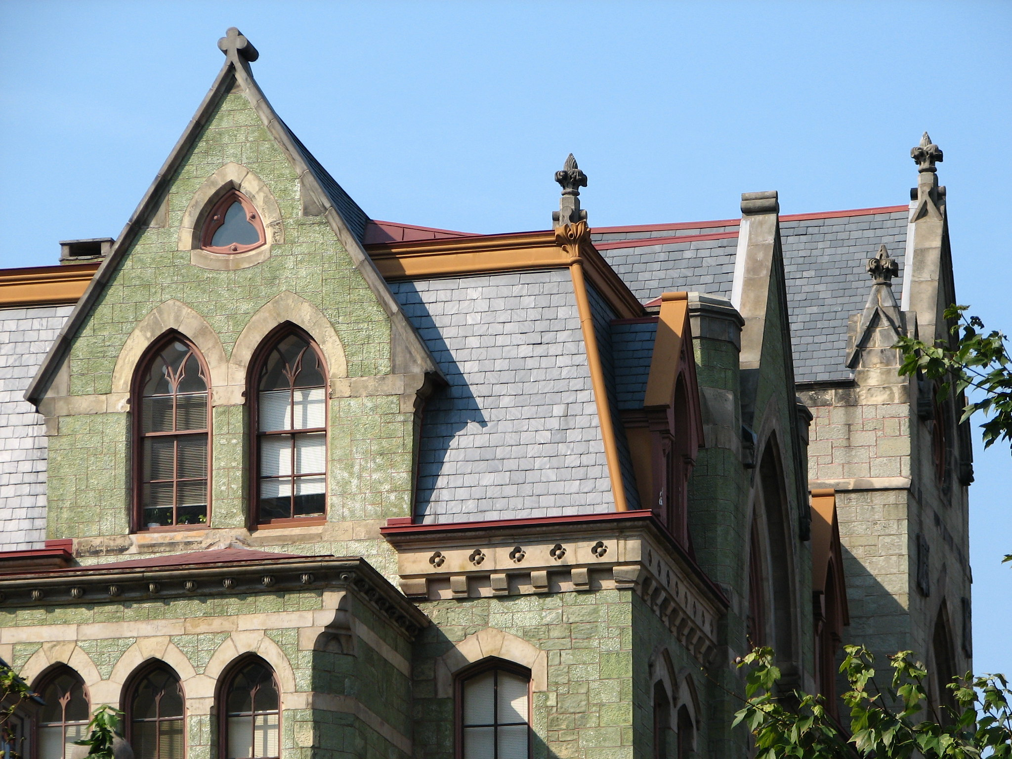 green building in Victorian gothic style